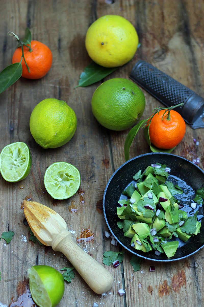guacamole making with fresh limes